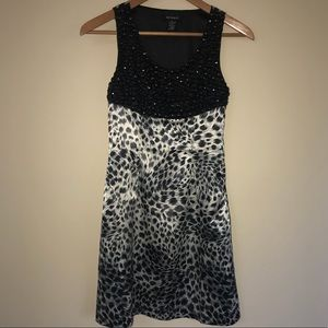 Cheetah leopard print dress black rhinestone top
